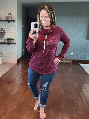 Casual Stroll Cowl Neck - Burgundy