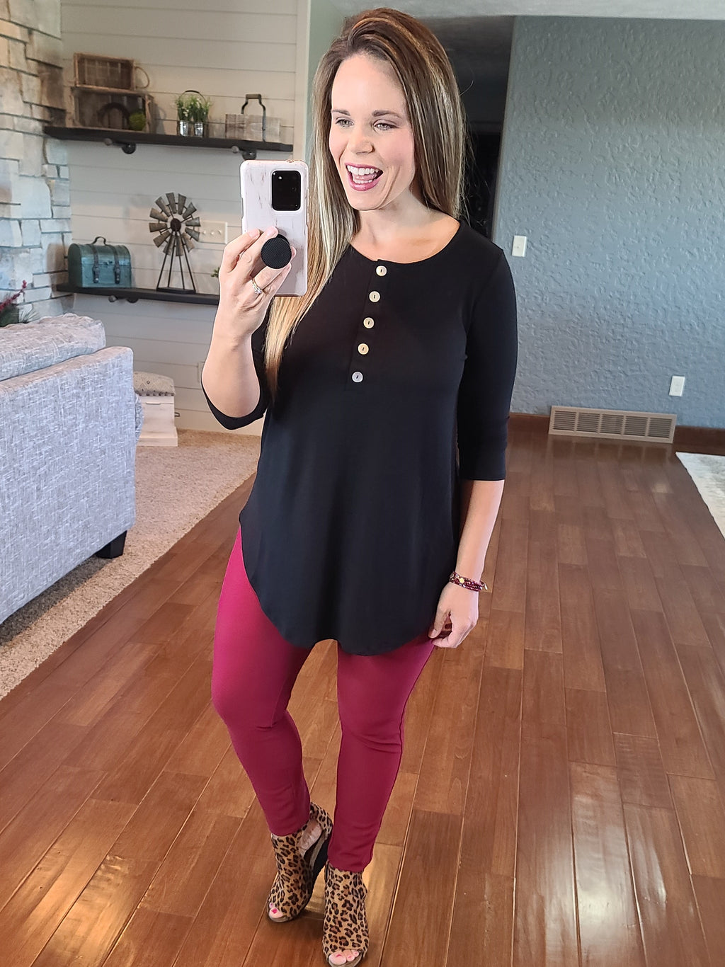 Simply Buttoned 3/4 Sleeve Top - Black