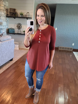 Simply Buttoned 3/4 Sleeve Top - Rust