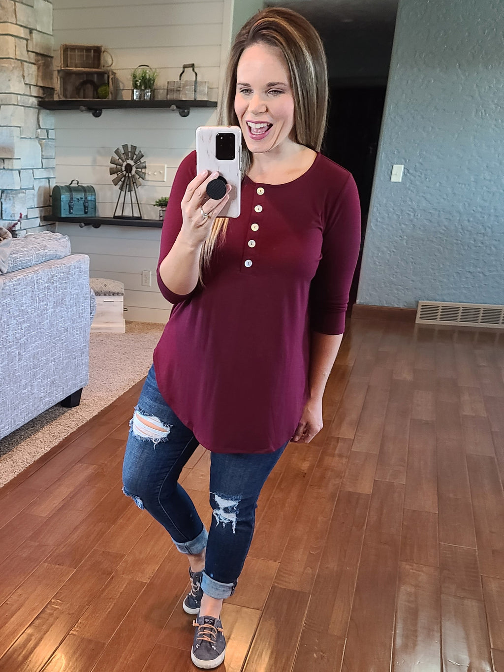 Simply Buttoned 3/4 Sleeve Top - Burgundy
