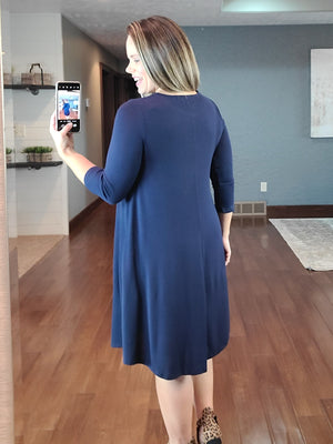 Evie Sweater Dress - Navy