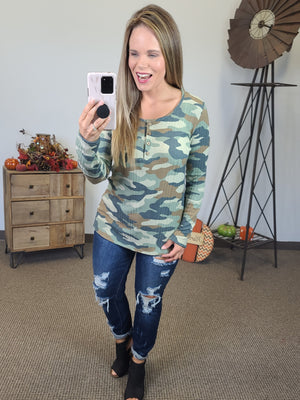 Eyes On You Camo Top