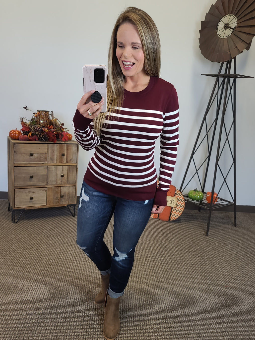 Perfect Stripe Sweater - Burgundy