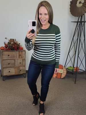 Perfect Stripe Sweater - Olive