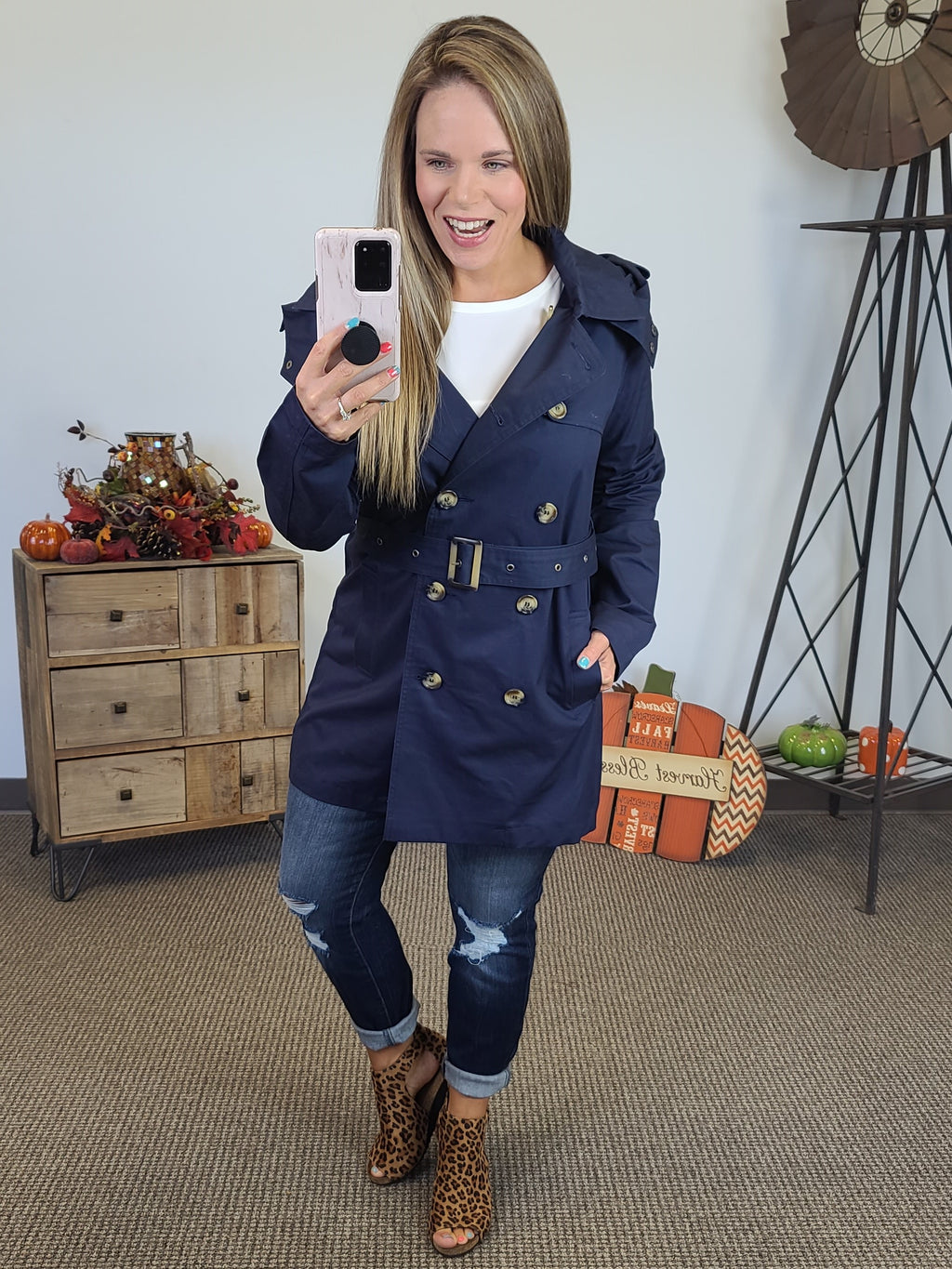 Productive Day Trench Coat - Navy