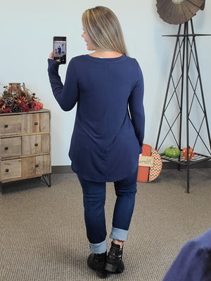 Amelia Long Sleeve V-Neck - Navy