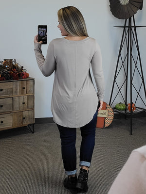 Amelia Long Sleeve V-Neck - Mocha