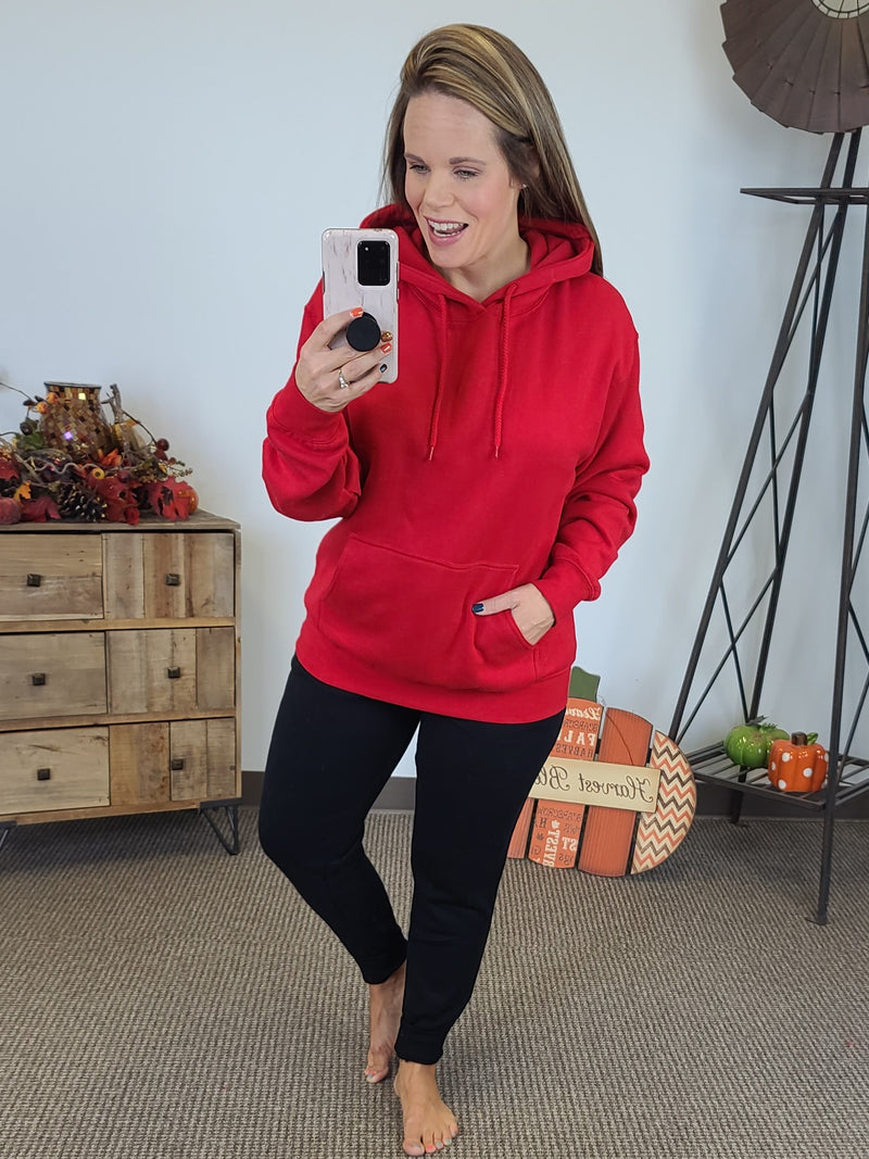 Cozy By The Fire Hoodie - Red