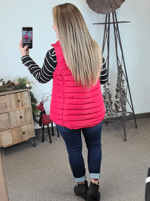 Winter Slopes Puffer Vest - Ruby