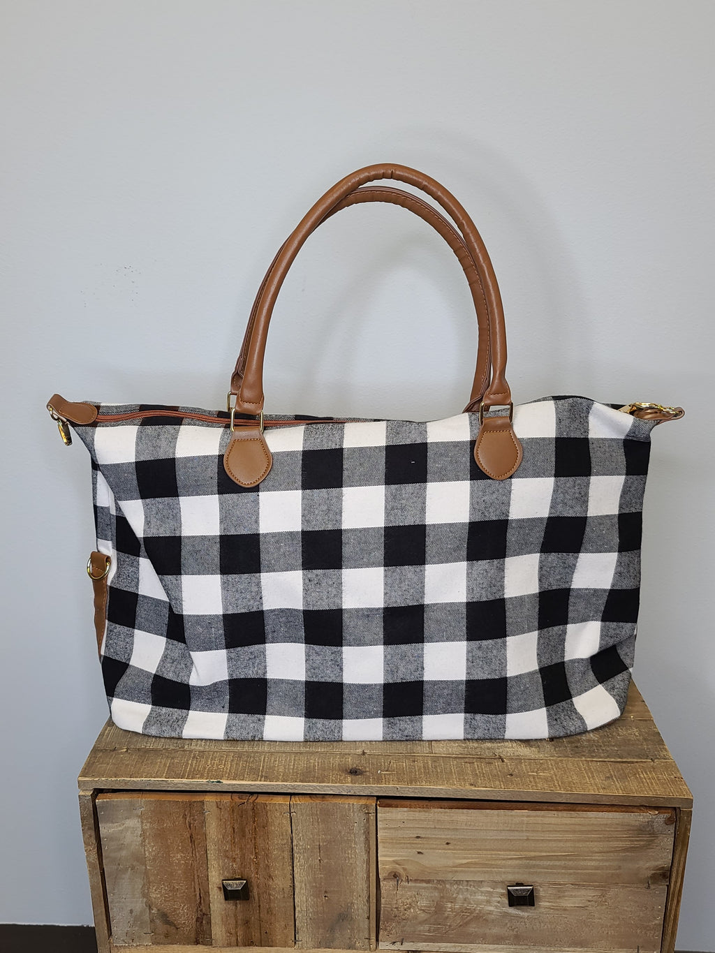 The Weekend Bag - White Plaid