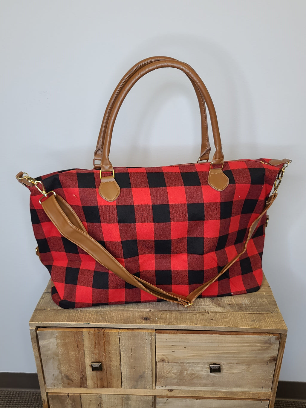 The Weekender Bag - Red Plaid