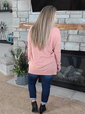 Falling For You Sweater - Dusty Coral