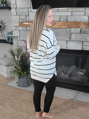 Falling For You Sweater - White Stripe
