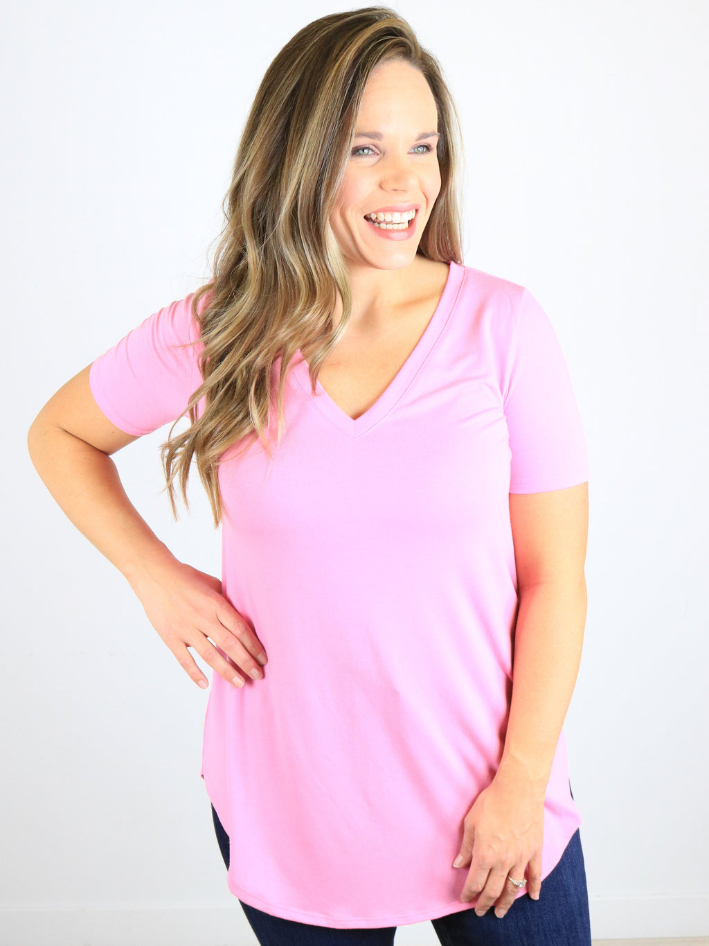 Back To Basics Short Sleeve Top - Candy Pink