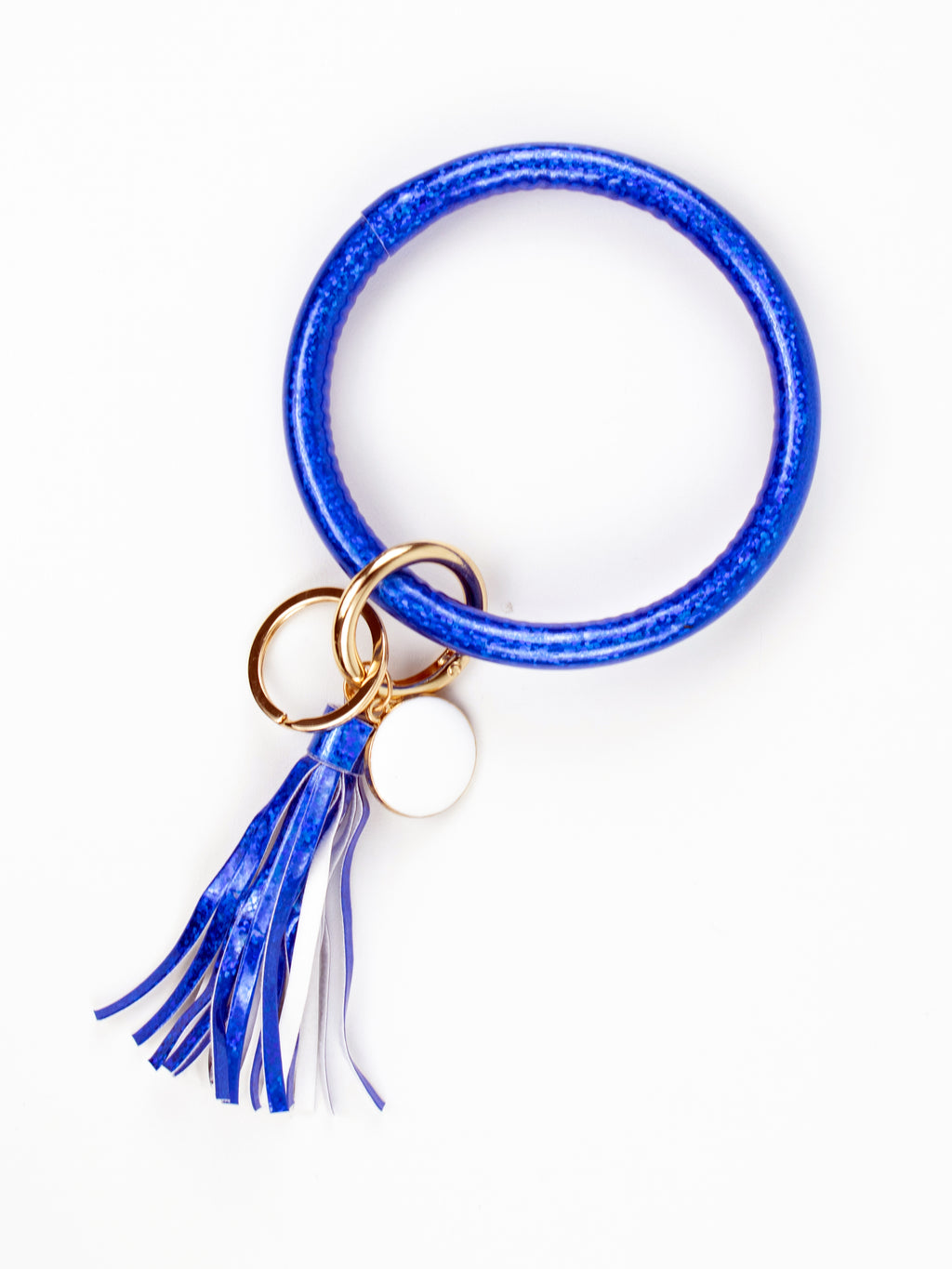 Bangle Bracelet Key Ring - Royal Blue Glitter