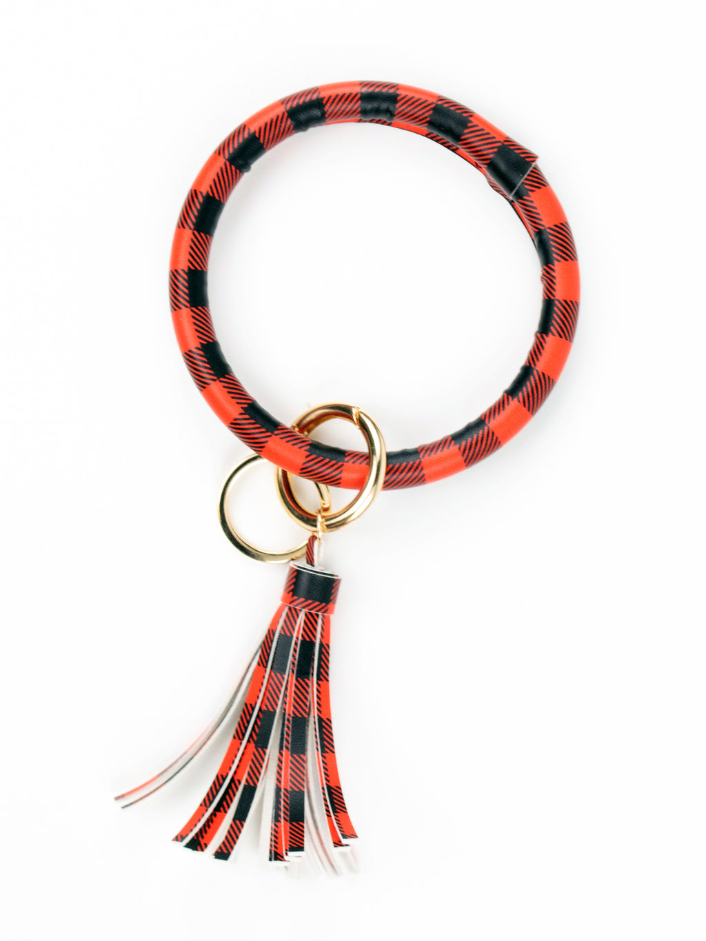 Bangle Bracelet Key Ring - Red Buffalo Plaid