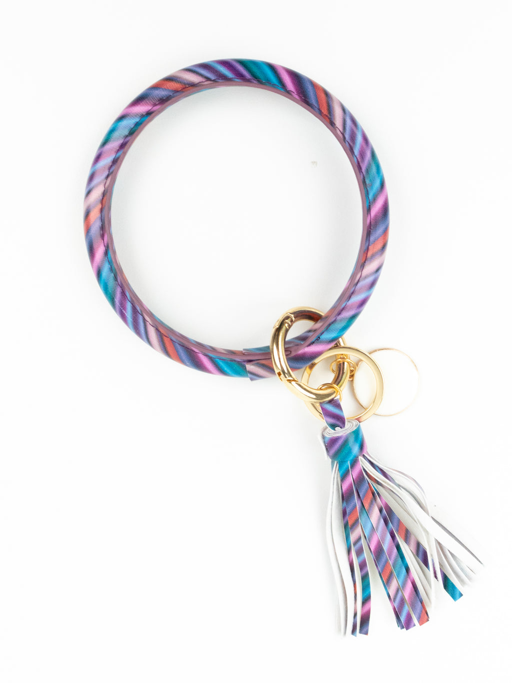 Bangle Bracelet Key Ring - Purple Stripe