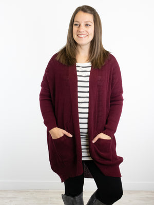 zz - Picture Perfect Cardigan - Burgundy