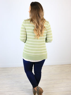 Striped Snap Front Cardigan - Sage