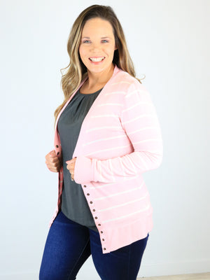 Striped Snap Front Cardigan - Dusty Pink
