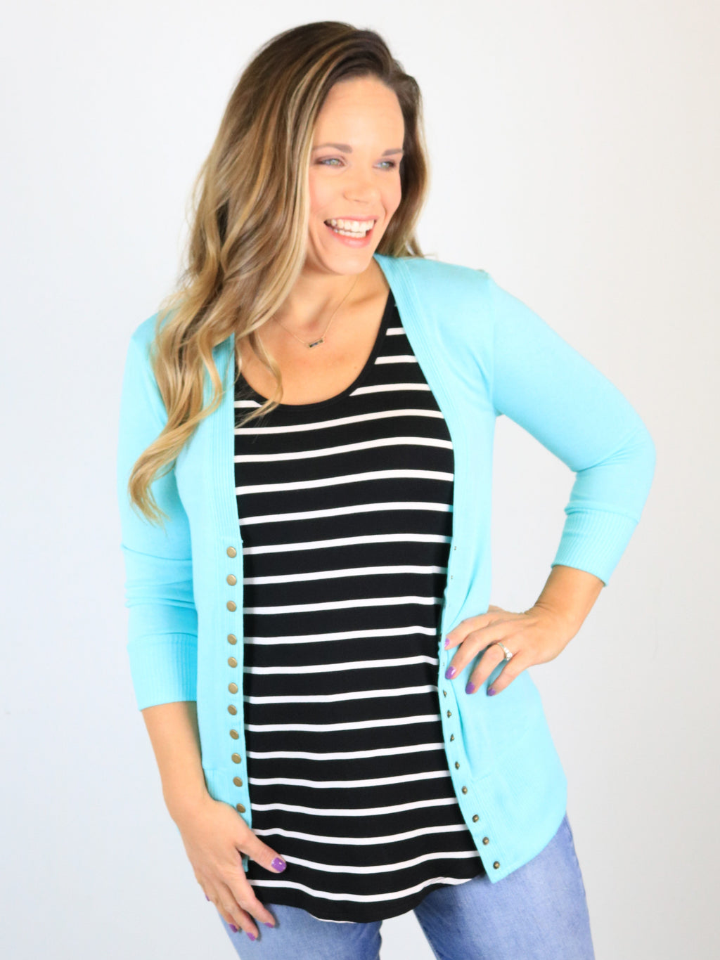 3/4 Sleeve Snap Front Cardigan - Blue Mint