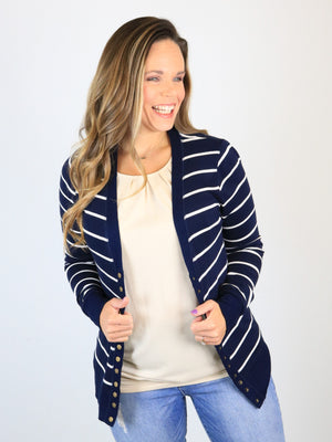 Striped Snap Front Cardigan - Navy