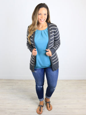 Striped Snap Front Cardigan - Ash Grey