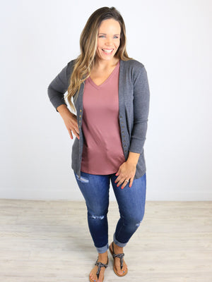 3/4 Sleeve Snap Front Cardigan - Charcoal