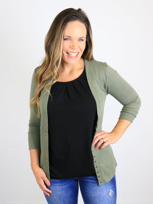 3/4 Sleeve Snap Front Cardigan - Lt. Olive
