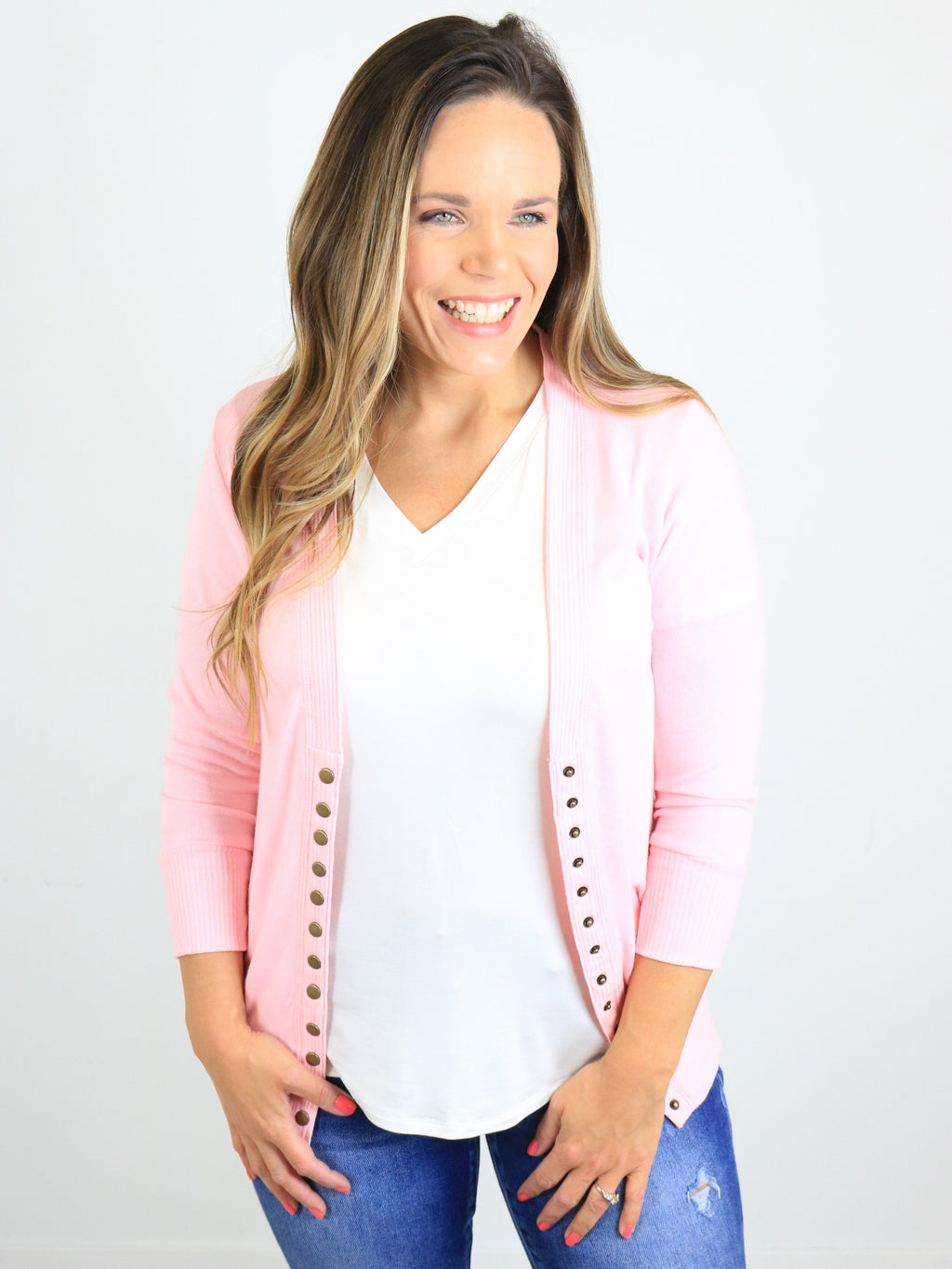 3/4 Sleeve Snap Front Cardigan - Dusty Pink