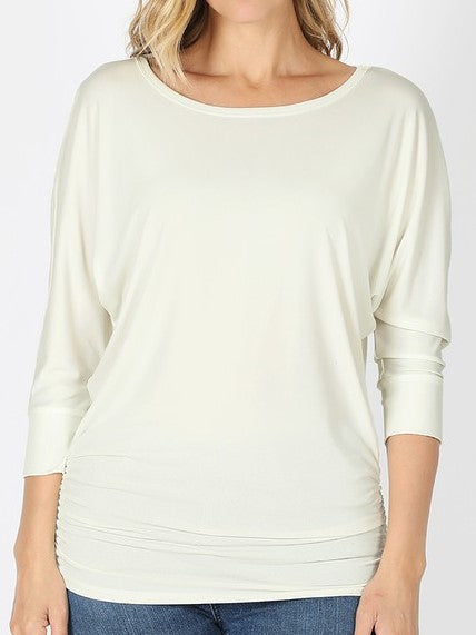 Stevie Side Ruched Top - Ivory