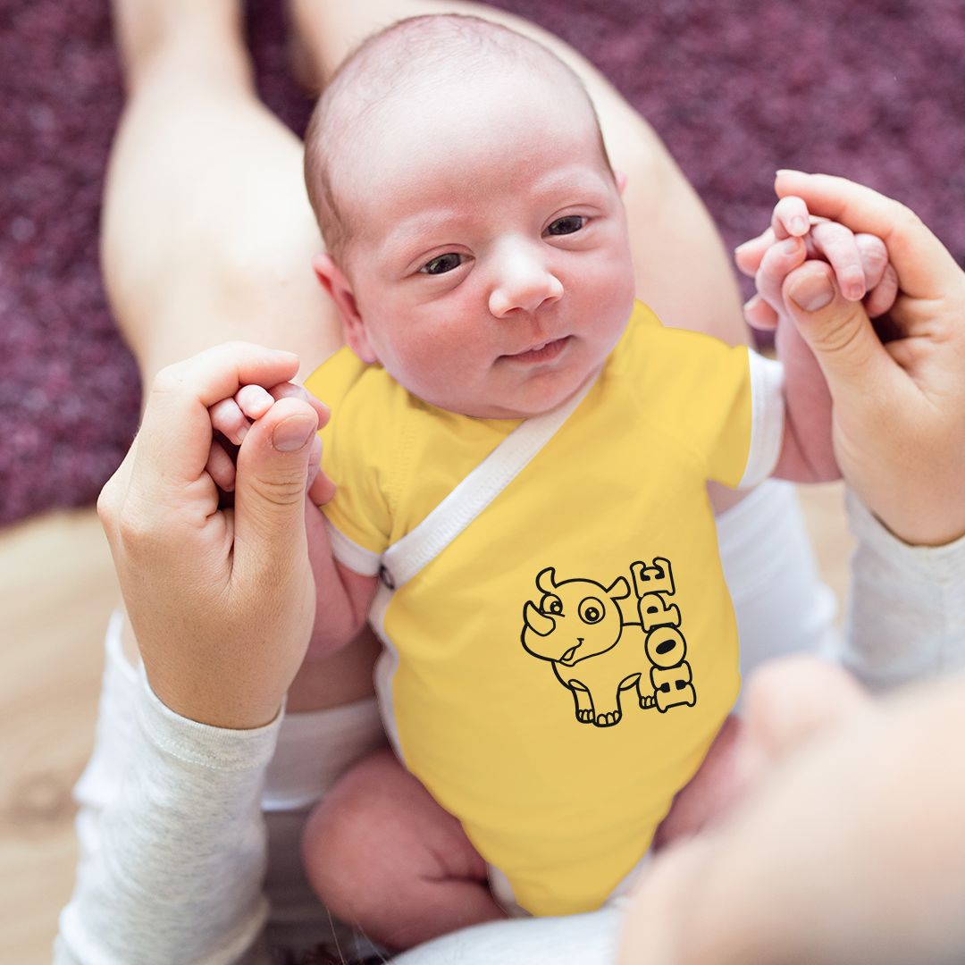 Organic Short Sleeve Kimono Onesie - Rhino Hope (Yellow)