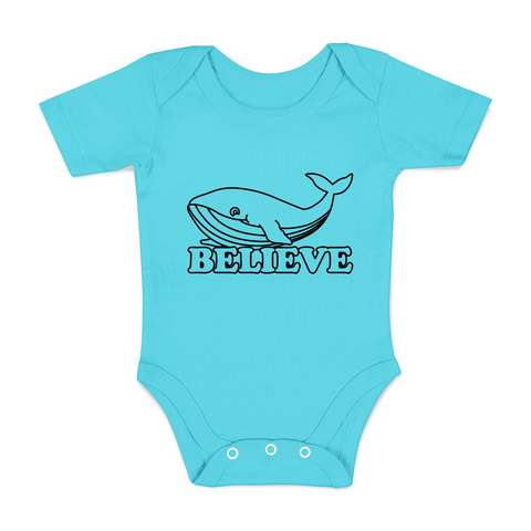 Organic Short Sleeve Bodysuit - Whale Believe