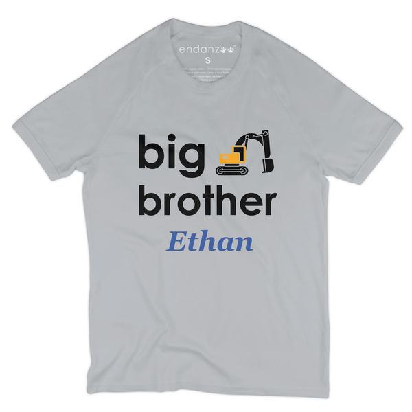[Personalized] Big Brother Excavator Organic Kids Tee Shirt
