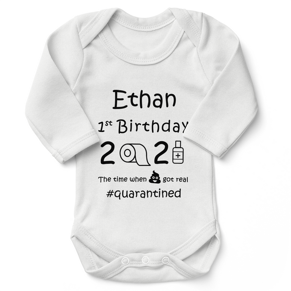 [Personalized] First Birthday Quarantine Funny Organic Baby Bodysuit