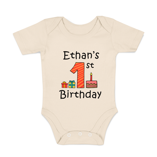 [Personalized] First Birthday Organic Baby Bodysuit