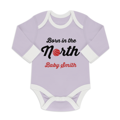 [Personalized] Born In The North - Organic Baby Bodysuit