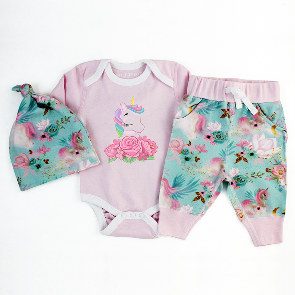 Endanzoo Organic Newborn Coming Home Outfit  Set - Best Friend Unicorn