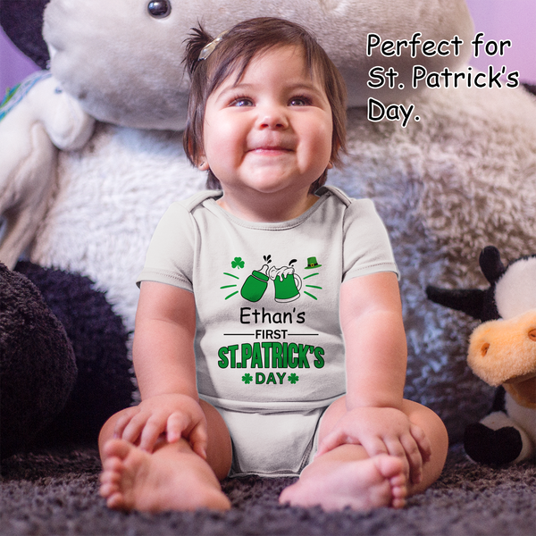 [Personalized] Saint Patrick's Day Cheers Drinking Buddies Organic Baby Bodysuit