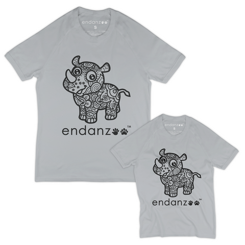 Matching Dad-and-Son Organic Tee Shirts - Ancient Rhino (Grey)