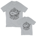 Matching Dad-and-Son Organic Tee Shirts - Whale with Ship Anchor (Grey)
