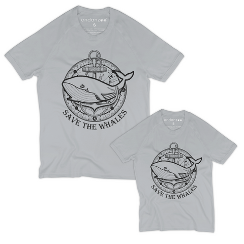 Matching Dad-and-Son Organic Tee Shirts - Whale with Ship Anchor