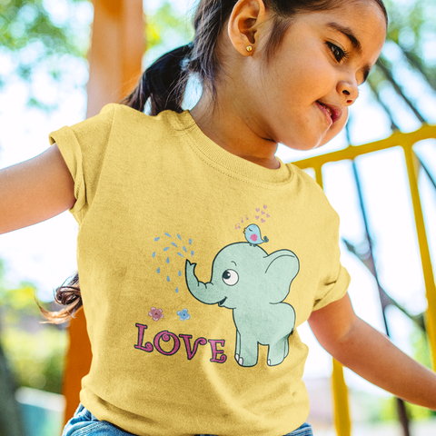 Organic Short Sleeve Kids Tee Shirt - Elephant & Her Best Friend Oxpecker