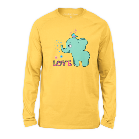 Organic Long Sleeve Kids Tee Shirt - Elephant & Her Best Friend, Oxpeckers