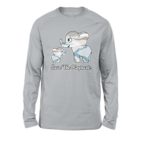 Organic Long Sleeve Kids Tee Shirt - Save the Elephants Family