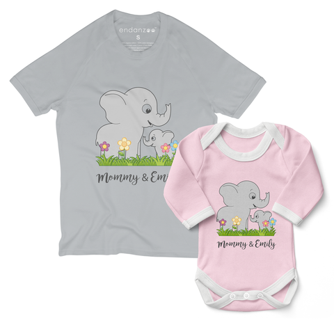 Personalized Matching Mom & Baby Organic Outfits - Elephant Family