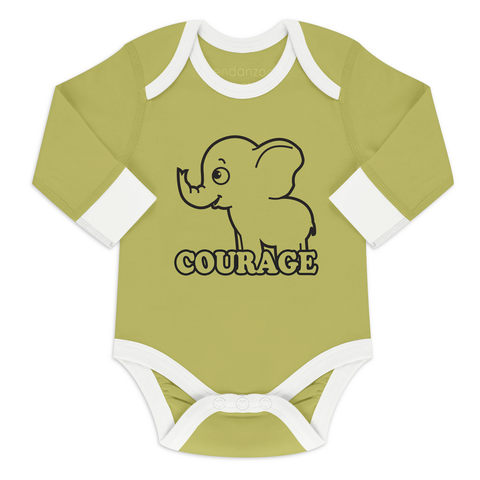 Organic Long Sleeve Bodysuit - Elephant Courage