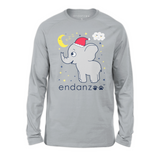 Organic Long Sleeve Kids Tee Shirt - Elephant Holiday Edition