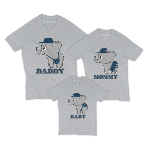 Matching Family Organic Tee Shirts- Traveling With Elephants (Grey)