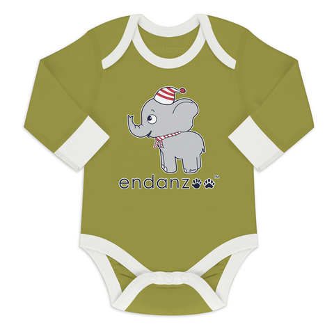 Organic Long Sleeve Bodysuit - Elephant in Winter